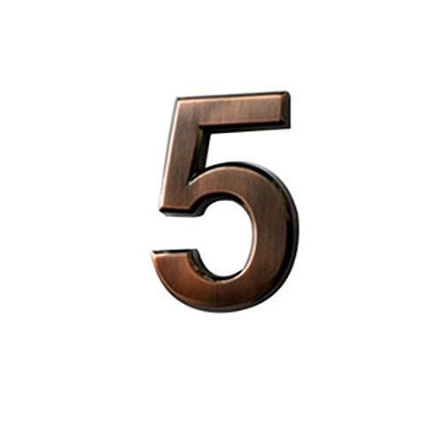 QINGRUI Modern House Number Bronce Digital 0-9 Hotel Adhesivo Chapado de Metal Digital Puerta del Edificio Dirección Número del Piso del Hotel Número Pegatina Plate sesión Concise (Color : 5)