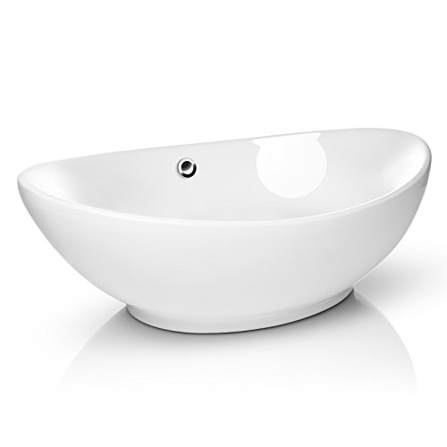 Miligore 23' x 15' Oval White Ceramic Vessel Sink - Modern Egg Shape Above Counter Bathroom...