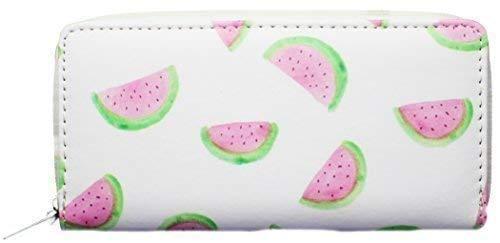 VINCENZA Damen Damen Lang Portemonnaie Portemonnaie mit Emoji Design Flamingo erdbeere wassermelone Gesicht Sommerspass UK Lager 10 Designs - Wassermelone, LARGE