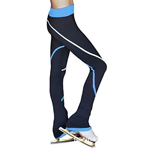 Damen Thermo-Leggings Gefüttert Eiskunstlauf Hose mit Innen-Fleece Basic Blickdicht,Blau,170