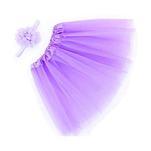 WOZOW Mädchen Tüllrock Einfarbig Blumen Stirnband Ballettrock Tanzkleid Röckchen Unterkleid Petticoat Weihnachten Fasching Tulle Minirock