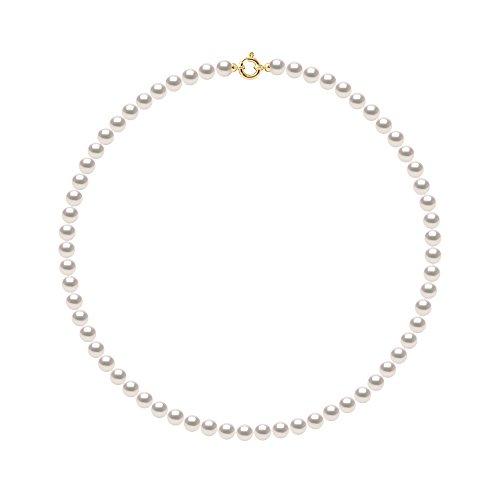 Pearls & Colors - Collana Perle di Coltura Akoya Rotonde 7-7.5 mm - Origine Giapponese Certificata - qualità AA+ - Chiusura di Prestigio Oro 750 (18 carati) - Gioielli Donna