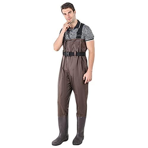 Männer Frauen wasserdichte Bootfoot Fliegenfischen Brust Wates Wating Gummistiefel Anzug mit Tarnung Komfortable Hose (Color : Brown, Size : 46)