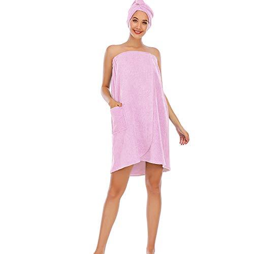 Juego de albornoz para mujer, toalla de baño para niña, vestido sin mangas, de rizo para spa, tubo grueso, ropa de dormir + cabezal de ducha de pelo, rosa, XL
