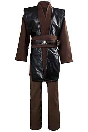 Cosplay de Peliculas Disfraz de Anakin Luke Skywalker Traje de Algodon Marron con Chaleco de Cuero Conjunto de Blanca con Cinturon de Cuero,L
