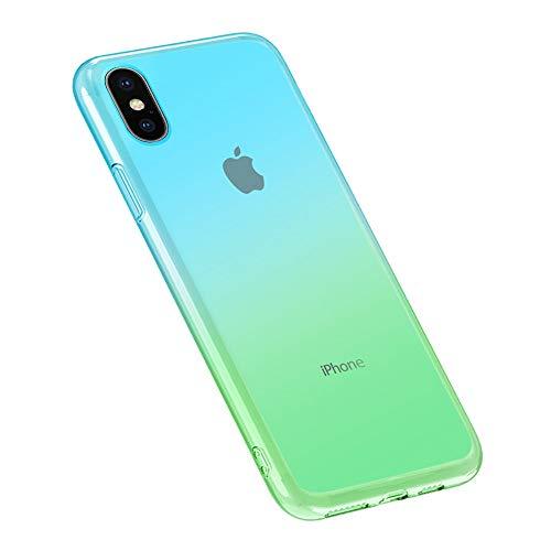 Oihxse Moda Lindo Cristal Case Compatible con Google Pixel 3A Funda Silicona Gradiente de Color TPU Suave Carcasa Ultra-Fina Transparente Protectora Flexible Caso-Azul Verde