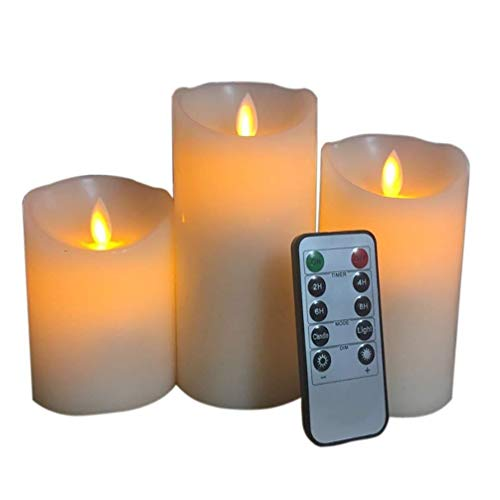 SHENMU Led Candle Flameless candles, flickering light LED candles with 10 key Remote control Timer, battery operated safe for indoor outdoor decor 3pcs / set 7.5x (10 + 12.5 + 15) cm