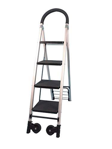 GAXQFEI Rollleitern, Familie 3-4 Stufen Leiter Multifunktionshandlauf-Trittleiter Aluminiumlegierung Leichte Leiter Rollenleiter,37 * 92 * 144Cm