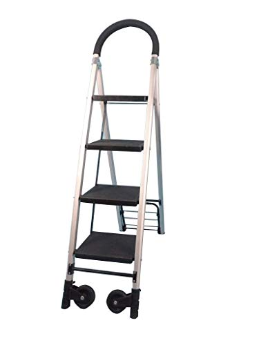 Rolling Ladders, Family 3-4 treden trap Multifunctionele Leuning ladders Aluminium Lichtgewicht Ladder Roller Ladder (Maat: 37 * 92 * 144cm) XIUYU (Size : 37 * 92 * 144cm)
