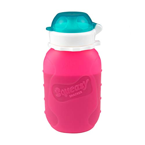 Pink 6 oz Squeasy Snacker Spill Proof Silicone Reusable Food Pouch - for Both Soft Foods and Liquids - Water, Apple Sauce, Yogurt, Smoothies, Baby Food - Dishwasher Safe