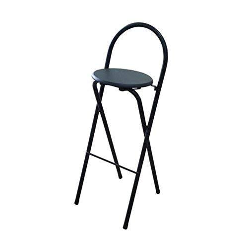 DSJMUY Hoher Hocker/Barhocker/klappbarer Rückenlehnenstuhl/moderner minimalistischer Barstuhl/hoher Sitz 75CM (Farbe: Schwarz)