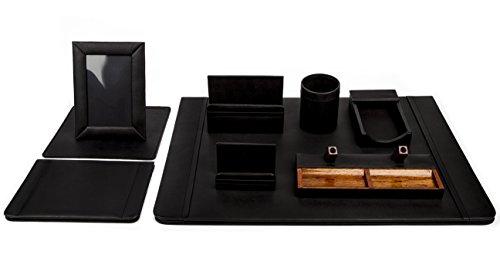 Juego de escritorio en piel genuina para oficina/set de escritorio ejecutivo con carpeta, accesorios y artículos color negro 9 piezas