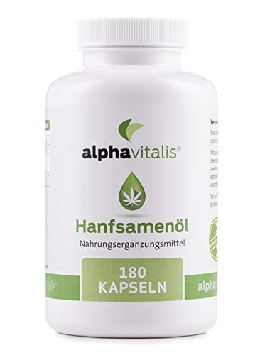 Omega 3-6-9 Öl Kapseln aus Hanföl -180 Softgelkapseln - hochdosierte 1000 mg Hanfsamenöl je Kapsel (kaltgepresst)