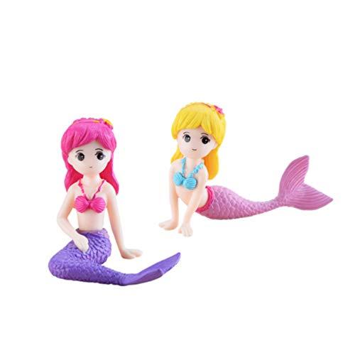EXCEART 2 Piezas de Sirena en Miniatura Micro Decoraciones de Paisaje Adornos de Acuario para Manualidades Bonsai Pecera Fiesta de Sirena Favor