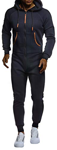 Leif Nelson Herren Overall Jumpsuit Onesie Trainingsanzug Jogginghose Trainings T-Shirt Fitness Männer Strampelanzug Bekleidung LN8270; Größe L; Dunkel Blau - 3