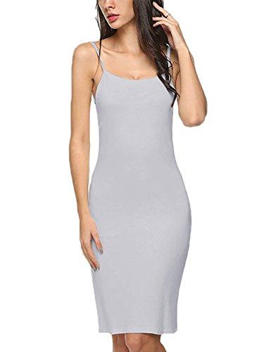 HNNATTA Slips for Under Dresses, Women 2017 Cotton Blend Round Neck Straight Dress Nightwear Mini Dresses Beige Small