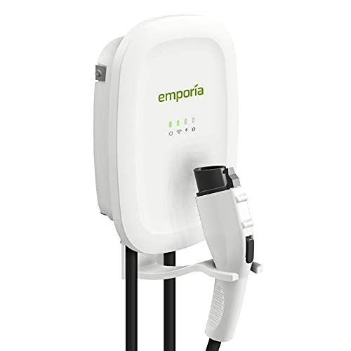 Emporia Smart Electric Vehicle (EV) Charger   Up to 48 Amp   Level 2 WiFi Enabled EVSE   NEMA 14-50 or Hardwired   Indoor/Outdoor Charging Station   24-Ft Cable