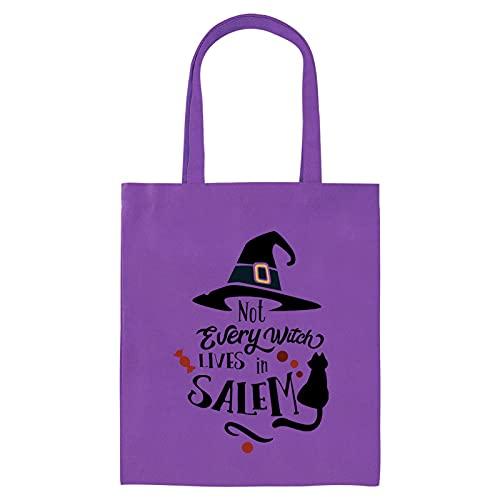 Canghai Bolsas de Halloween para trucos o golosinas, bolsas de lona para Halloween con impresión para fiestas infantiles, bolsa de regalo de merienda, bolsa de regalo de gran tamaño (45 moradas)
