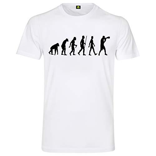 Evolution Boxen T-Shirt | Boxing | Kampf | Boxer | Thaiboxen | Ring | Fight Weiß 4XL