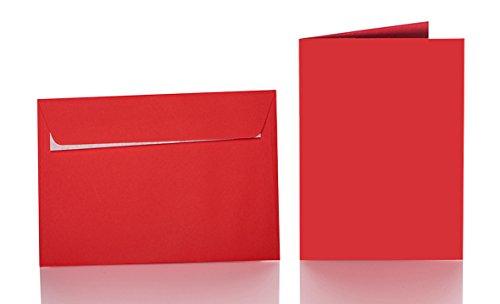 25 Farbige Umschläge B6 mit Haftstreifen + Faltkarten 12x17 cm Rot
