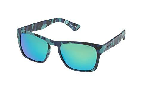 Police Trick 2 Occhiali da Sole, Semi Matt Blue/Black/Azure Camouflage...