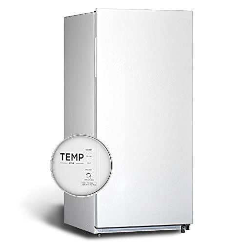 SMETA Upright Freezer, Conversion Freezer and Refrigerator|℃ and ℉, Total No Frost, Freestanding Single Door Compact Refrigerator Freezer, 13.8 Cu ft Suitable for Home Kitchen Office Garage, White