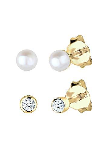 Elli PREMIUM Ohrringe Damen Ohrstecker mit Diamant Süßwasserzuchtperle Basic in 375 Gelbgold