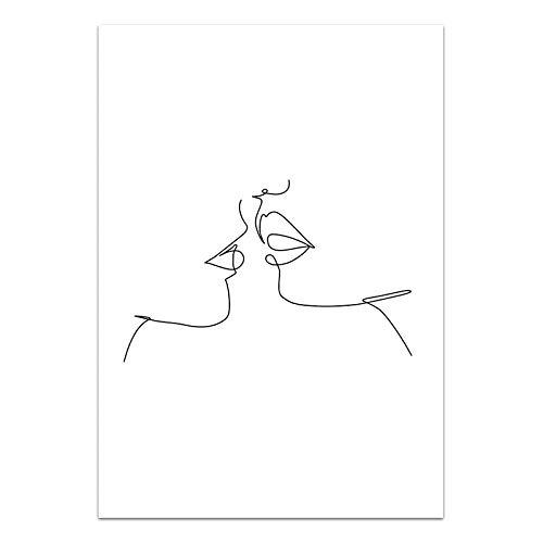 U/N Estilo de decoración del hogar línea Simple Lienzo Pintura Imagen Arte de la Pared Impresiones en Blanco y Negro Cartel de la Sala de Estar 3