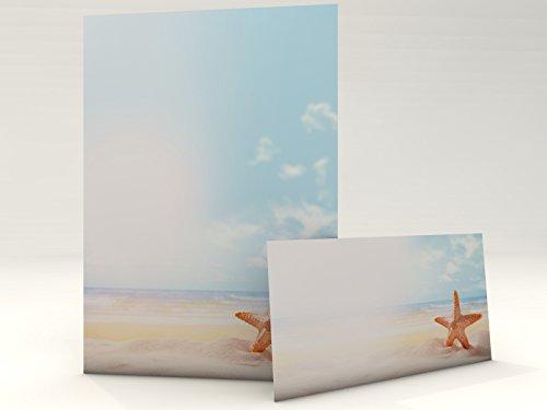 Sommer Urlaub Strand Motivpapier Set mit Umschlag Seestern 20 Blatt A4 und 20 passende Kuverts