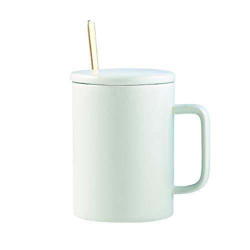 Heliansheng Taza de cerámica Simple con Tapa y Cuchara Taza de Agua Creativa para el hogar Taza de café -D007-301-400ml-G671