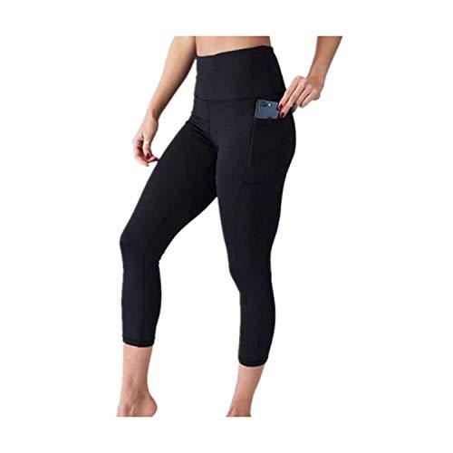 YAJIANMEI Pantalones Cortos de Yoga con Bolsillo Lateral para Mujer, Pantalones de Secado rápido, Ligeros y cómodos - Negro - X-Large