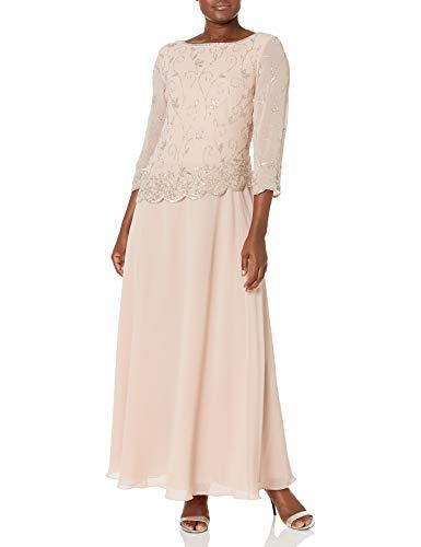 J Kara Women's Beaded Scallop Bodice Asymmetrical Gown, Blush/Silver, 8 (Apparel)