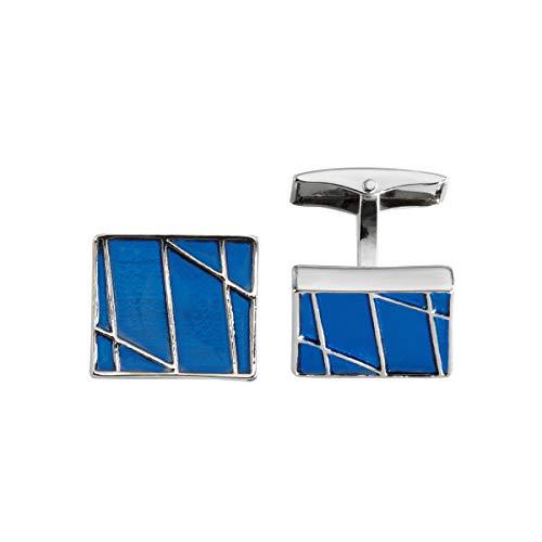 LINDENMANN Manschettenknöpfe, silberfarben, quadratisch, mit blauem Lack, rhodiniert, Geschenketui, 10840