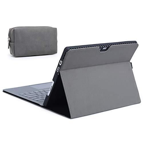 HYZUO Hülle Abdeckung Schutzhülle für Surface Pro 7/ Pro 6/ Surface Pro 5 2017/ Pro 4 12,3 Zoll Tragbar Folio Ständer mit Stylus Halter, Kompatibel mit Typ Tastatur, mit Kleine Tasche-Dunkelgrau