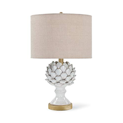 Regina Andrew White Leafy Artichoke Decorative Table Lamp | Standing 20.5 inches Tall with Single 3-Way 100 Watt Max Socket and Linen Shade for a Living Room, Bedroom or Entryway