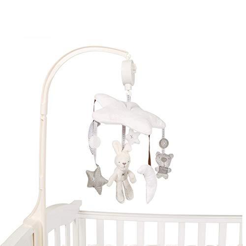 BABIGODS Bébé Musique Lit Suspendu Bébé Jouet Pendentif en Can Rotate Music Box Bed Bell Forme d'animal Coordination Yeux Enfants 0-2 Ans,White