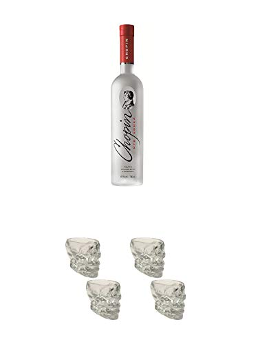 Chopin Rye Vodka Polen 0,7 Liter + Wodka Totenkopf Shotglas 2 Stück + Wodka Totenkopf Shotglas 2 Stück