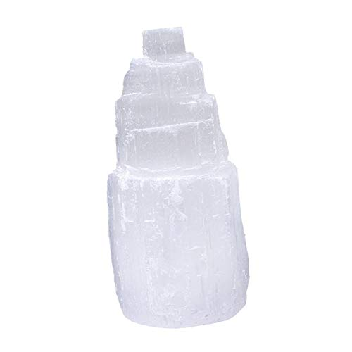 #N/a Lámpara de selenita Natural de gema, cristal de selenita blanco, candelabro, meditación, decoración del hogar, adornos relajados - H6cm