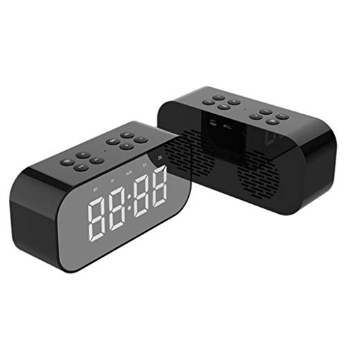 Draagbare BT Snooze Dual USB-wekker LED-spiegel draadloze Bluetooth luidspreker-subwoofer ondersteuning 32G TF-kaart handsfree oproep Eén maat zwart