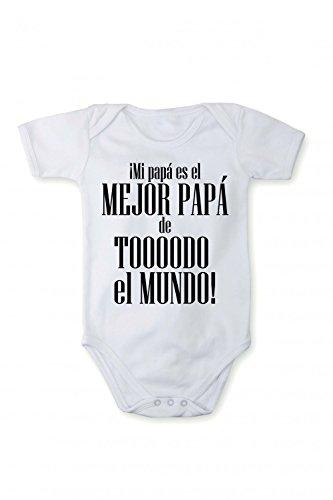 Fabio Farini baby-body met korte mouwen voor meisjes en jongens, 100% katoen, beste papa in verschillende talen, wit, Spaans, maat 74