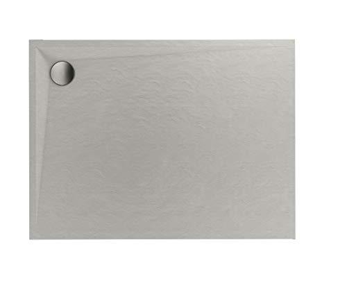 Plato de ducha de color crema cuadrado rectangular con efecto piedra cemento beige (90 x 140 x 3 cm)