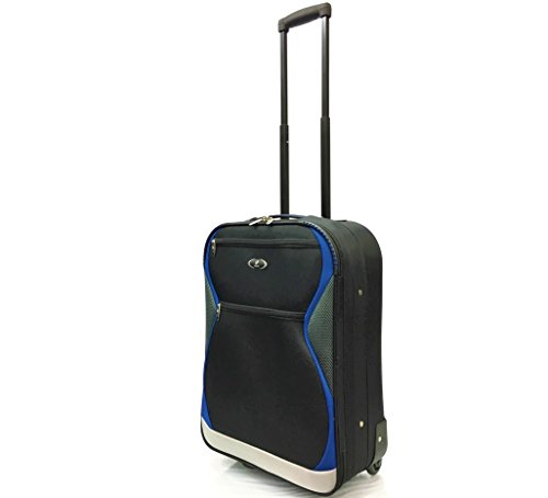 21' 55x40x20cm 44L Super Lightweight Carry-On Cabin Approved Suitcases Travel Bags with 2 Wheels for Ryanair, EasyJet, British Airways, Monarch, Jet2 and Many More! (21' Carry-On, Black/Blue 1128)