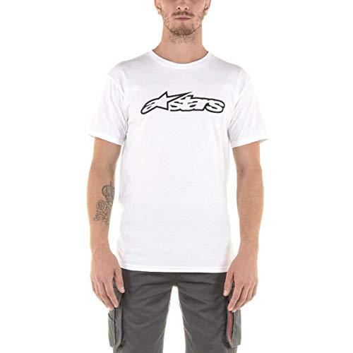 Alpinestar Blaze Classic tee Camiseta de Manga Corta con Logo de Corte Moderno, Hombre, White/Black, M
