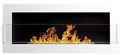 Bio Ethanol Fire BioFire Fireplace Modern 900 x 400 White with glass