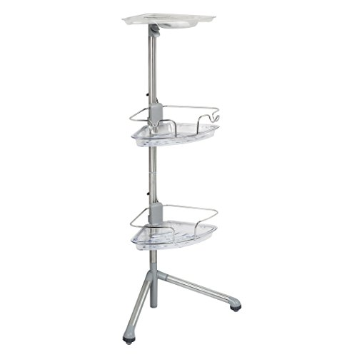 OXO 1451380 Good Grips Stainless Steel Corner Standing Shower Caddy