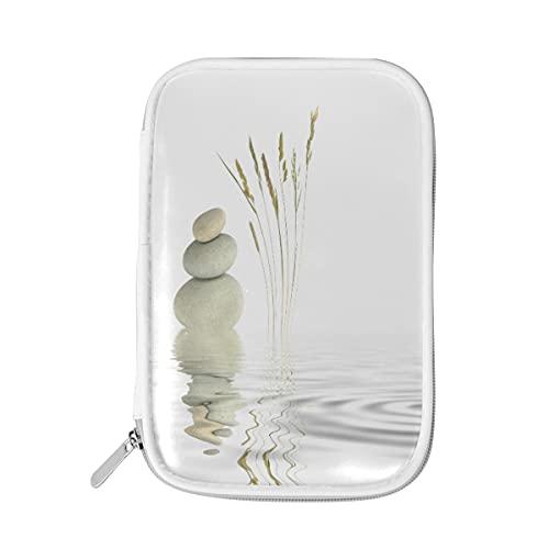 LUCKYEAH - Estuche multifuncional para lápices, diseño de hojas de playa, piedra zen japonesa, para mujeres, niñas, adolescentes, oficina, viajes, etc