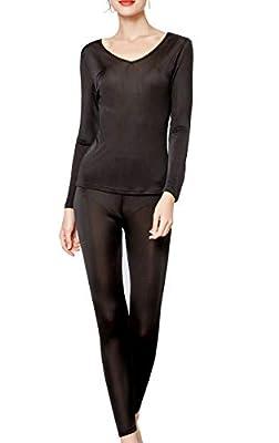 METWAY Women's Silk Long Johns  V-Neck Silk Thermal Underwear Sets Winter Silk Long Underwear Large Black