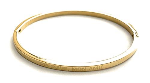 Lolo & Yaya - Pulsera de acero con texto en inglés 'Mon Amie'