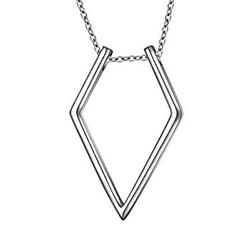 S925 Sterling Silver Jewelry Open Rhombus Pendant Ring Holder Necklace Wedding Engagement Anniversary Infinity Love Gift for Her Wife Girlfriend Fiancee  Big Rhombus
