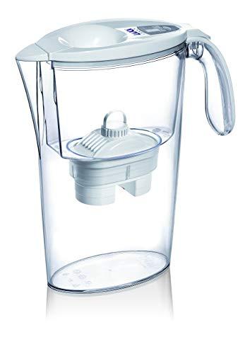 Jarra para filtrar el agua del grifo y mejorar su sabor- Laica STREAM LINE J31-AF color blanco capacidad 2,3 litros, incluye 1 filtro bi-flux que reduce la cal y el cloro y dura 150 litros o 1 mes.